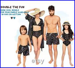 Daddy And Me Matching Shorts, Father And Son Matching Swimwear, Father Gift, Black Swimwear, Dad Gift, Polka Dot, Husband And Son Trunks