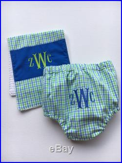 Diaper Cover and Burp Cloth set for HIM, baby shower, set ,infant, baby, FREE MONOGRAM, diaper pants, swim suit, toddler, swim pants covers