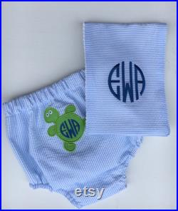 Diaper Cover and Burp Cloth set for HIM,turtle,baby shower,set,infant,baby, FREE MONOGRAM, diaper pants, swim suit, toddler, swim pants covers