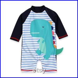 Dino Baby UV Swimsuit for Newborn to age 2, Baby Dinosaur Rash Guard Swimsuit, Toddler Sun Protection One Piece Swimsuit