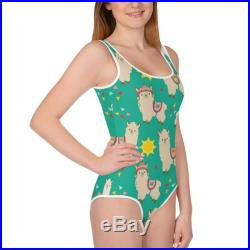 Emerald Green Llama Print One Piece Youth Swimsuit Size 8-20