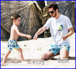 Father And Son Matching Swimsuits, Daddy And Me Matching Swimwear, Dad Gift, Animal Bathing Suits, Men Brief Swimsuit, Dad And Son Shorts