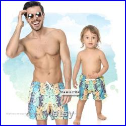 Father And Son Swimwear, Matching Bathing Suit, Matching Beach Wear, Pineapple Trunks, Matching Daddy And Me Swimsuit,Dad Gift From Daughter