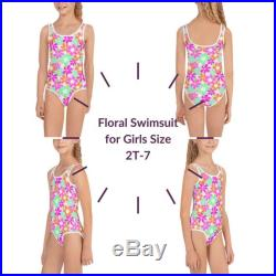 Floral Print One Piece Girls Swimsuit Size 2T-7