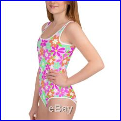 Floral Print One Piece Youth Swimsuit size 8-20