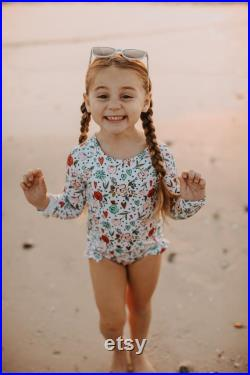 Fully Lined Long Sleeve Floral Hearts Rashguard Bathing Suit Baby Swimsuit toddlers swimsuit kids swimwear kids bathing suits
