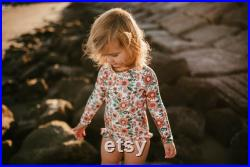 Fully Lined Long Sleeve Floral Rashguard Bathing Suit Baby Swimsuit toddlers swimsuit kids swimwear kids bathing suits
