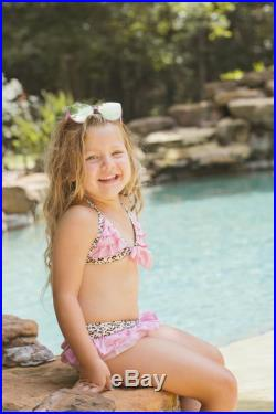 Girl's Leopard Bikini with Pink Ruffles, Leopard Toddler Girls Bikini, Pink Ruffles, In Stock and Ready to Ship Sizes 3,4,5,6,7 only