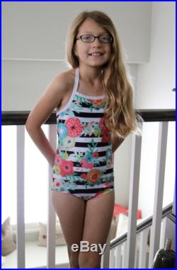 Girl's Striped Floral Print One Piece Swim Suit