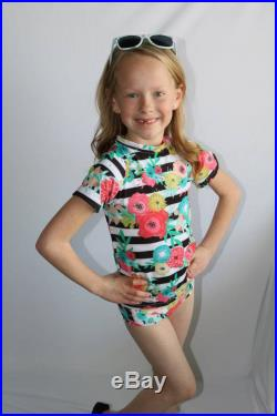 Girl's Striped Floral Print Tankini with Swim Bottoms