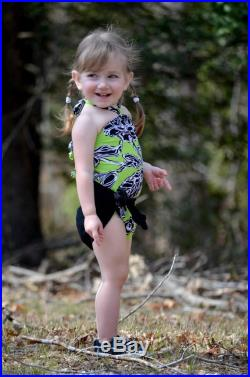 Girls Bathing Suit Neon Green with Black Floral Print Baby Body Suit One Size Swimwear Infant Swimwear Newborn Swimsuit Toddler 3 hisOpal