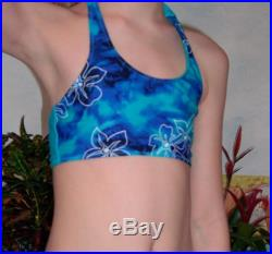 Girls Bikini in coole blue with hibiscus flower for girls ages 2 to 9 years
