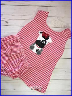 Girls Bow Back Romper Summer Swing Top with bloomers in Pink White Fabric Cotton Gingham Print.