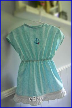 Girls Light Aqua Cotton Swimsuit Cover-up with Embroidered Anchor, Size 3. Elastic Waist, Girls Beachwear or Pool Wear, Ruffled Hem