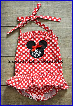 Girls Minnie Mouse Swimsuit- Monogrammed Red Polka Dot 1-piece Swim Birthday Disney by Smocked A Lot