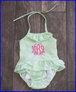Girls Monogrammed Seersucker One Piece Ruffle Swimsuit Sizes 12M-6, Many colors available