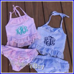 Girls Monogrammed Two Piece Swimsuit- Seersucker Ruffled Baby Swimsuit- Monogrammed Seersucker Swimsuit