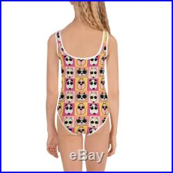 Girls One Piece Swimsuit Groovy Dog Funky Sassy Pup with Sunglasses Ready for the Beach Pool Backyard Bar B Q Birthday Party Play Date