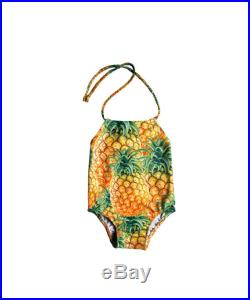 Girls One Piece Swimsuit Toddlers Halter Bathing Suit Toddler Girl Swimsuit Pineapple Yellow Size 12M to 6T