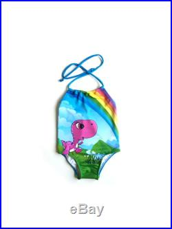 Girls One Piece Swimsuit Toddlers Halter Bathing Suit Toddler Girl Swimsuit Pink Dinosaur Swimsuit Size 12M to 6T