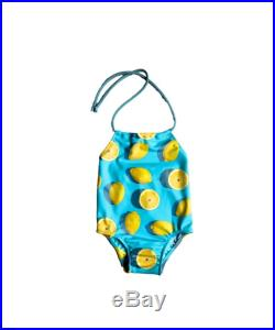 Girls One Piece Swimsuit Toddlers Halter Bathing Suit Toddler Girl Swimsuit Yellow Lemon Print Size 12M to 6T