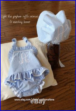 Girls One piece monogram ruffle swimsuit with snaps and monogram Button Bonnet Boutique handmade gingham seersucker cotton personalized