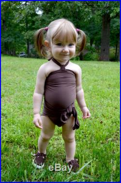Girls Swimsuit Baby Bathing Suit Brown One Wrap Swimsuit Tie On Swimwear One Size fits Newborn Girls to Toddler 3 Infant Swimming Costume