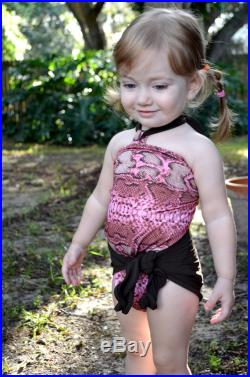 Girls Swimsuit Baby Bathing Suit Pink Snakeskin with Brown One Wrap Swimsuit One Size fits Newborn Girls to Toddler 3 Infant Animal Print