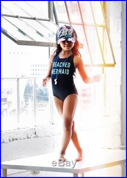 Girls Swimsuit. Black Beached Mermaid Racer Back Bathing Suit, With Open Back. One Piece Swim Suit.