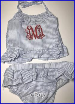 Girls ruffled 2 PIECE swimsuit monogrammed girls swimsuit seersucker swimsuit