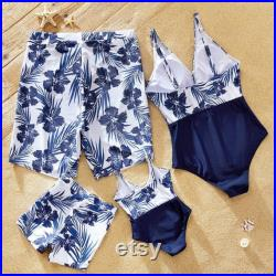 HOT Hibiscus Flower Father Son Trunks Swimming V neck Swimsuit Mom and Daughter, Beach Swimwear, Matching Family Swimsuit