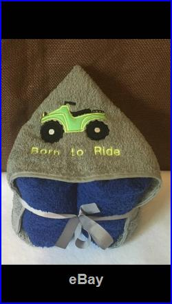 Hooded towel with ATV born to ride applique