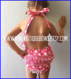 Hot pink polka dot Ruffled Halter Swimsuit Personalized Baby Toddler vonBoutiqueBows 3 6 12 18 months 2T 3T 4T 5T 6 girls one piece
