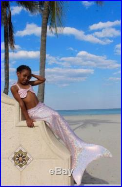 Kids Mermaid Tail and Side Seashell Top Set Top-quality Swimmable Mermaid Tails and Swimsuits by Magical Mermaid Swimwear