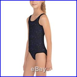 Kids midnight blue starry night swimsuit bathing suit one piece swimwear for kids toddlers, 2T thru 7, free shipping