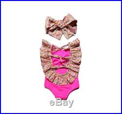 Last size 3-6 Month, 5 Years Pink floral baby swimsuit Baby swimwear Girls swimwear Baby girl swimsuit Baby swim suit
