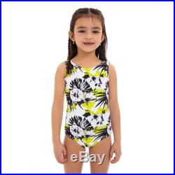 Lemon Short sleeves round neck Mother and Daughter matching one piece Swimsuit, floral yellow print.
