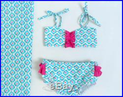 Little girl swimsuit size 6m 12m 18m 24m 3T 4T 5T 6T Retro two pieces bathing suit blue pink bikini baby girl bloomers Free Shipping