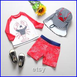 Lobster Rash Guard Set, Long Sleeve Top and Short UPF 50 Boys, Girls Swimming Suit