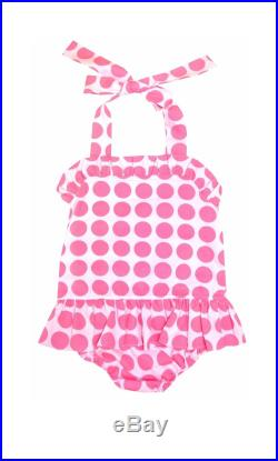 MONOGRAMMED Girl's Swimsuit by Banana Split in Light Pink and Hot Pink Dots