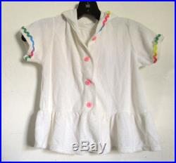 Marked Down A Little Girls,Vintage 80s era,Cute White Hooded TERRY CLOTH Top Cover up.M