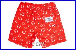 Matching Red and White Headphone Swim Shorts Boys Recycled Fabric