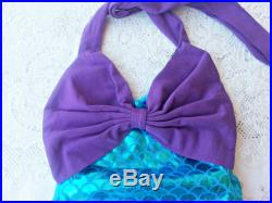 Mermaid romper, costume, dress up girl, baby, toddler and headband outfit. One piece, Aqua turquoise purple. 6-18 months