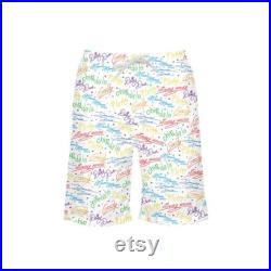 Mickey and friends signature autograph all over print boy's swim trunk, Boys swim trunks, Disney boys swim trunks, Disney vacation swimwear