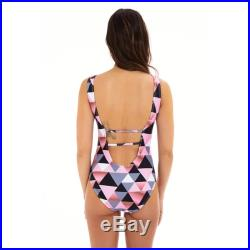 Mini Jamaica Short sleeves round neck Mother and Daughter matching one piece Swimsuit, Pink triangle print.