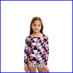 Mini Jamaica long sleeves baby girl swimwear. Mother and Daughter matching one piece Swimsuit, Pink triangle print.