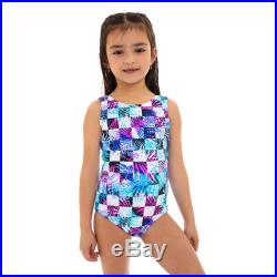 Mini Lagoon Short sleeves round neck Mother and Daughter matching one piece Swimsuit, Blue geometric print.