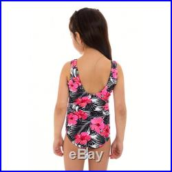 Mini Malibo Short sleeves round neck Mother and Daughter matching one piece Swimsuit, floral pink print.
