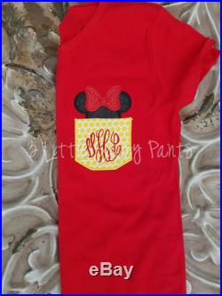 Minnie Mouse Shirt- Pocket Minnie Mouse Shirt- Pocket Tee -Personalized Disney Shirt- Mouse Ears Shirt- Disney Vacation Shirt- red