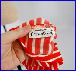 Mint Condition 1960-70's Nautical style Red and White Horizontal Stripe Toddler Unisex Swimsuit NOS by Catalina size 3T